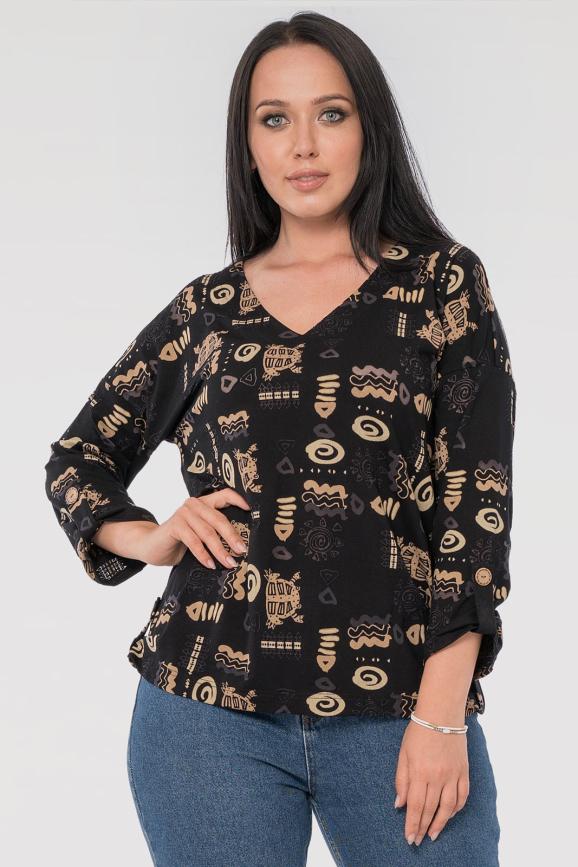 Блуза  черного цвета 2845.117|интернет-магазин vvlen.com