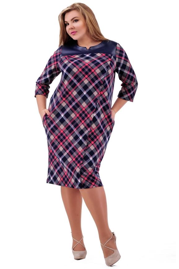 Платье футляр синего с розовым цвета 2290. 77|интернет-магазин vvlen.com