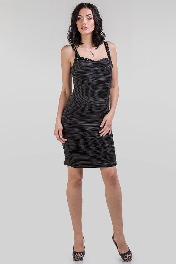 Коктейльное платье футляр черного цвета 1-2803|интернет-магазин vvlen.com