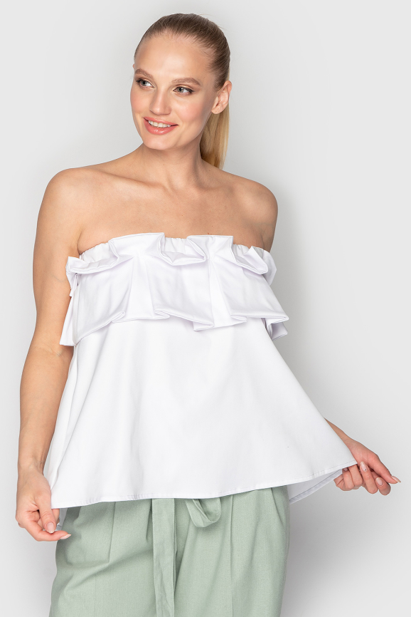 Летнее блуза белого цвета 763 интернет-магазин vvlen.com