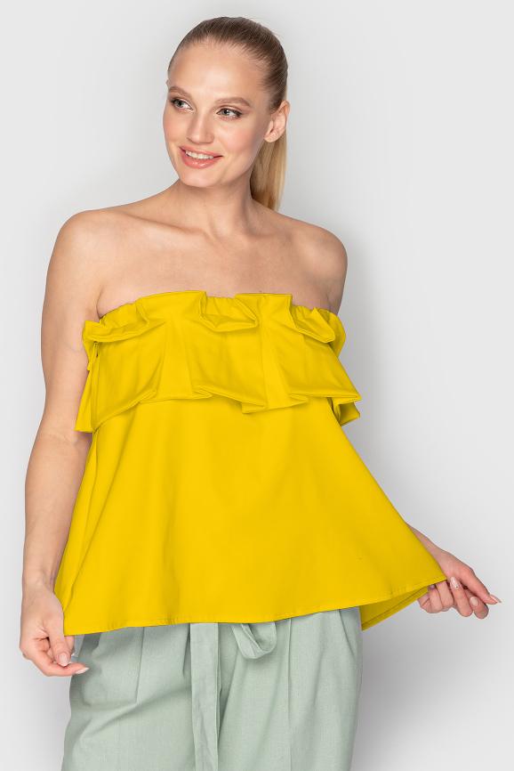 Блуза  горчичного цвета 763 интернет-магазин vvlen.com