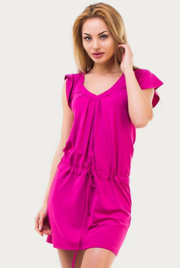 Повседневное платье футляр малинового цвета|интернет-магазин vvlen.com