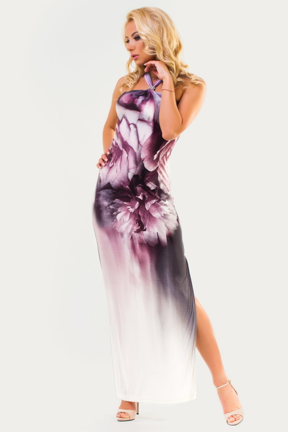 Вечернее платье футляр серого с розовым цвета|интернет-магазин vvlen.com