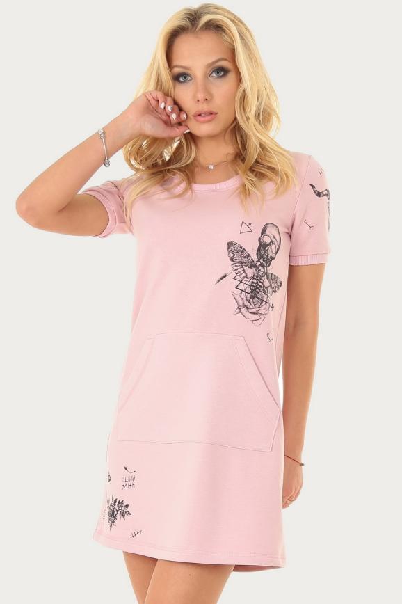 Спортивное платье  розового цвета|интернет-магазин vvlen.com