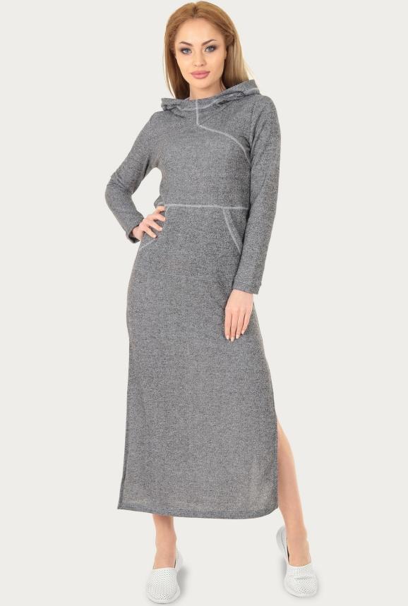 Спортивное платье  темно-серого цвета 206br интернет-магазин vvlen.com