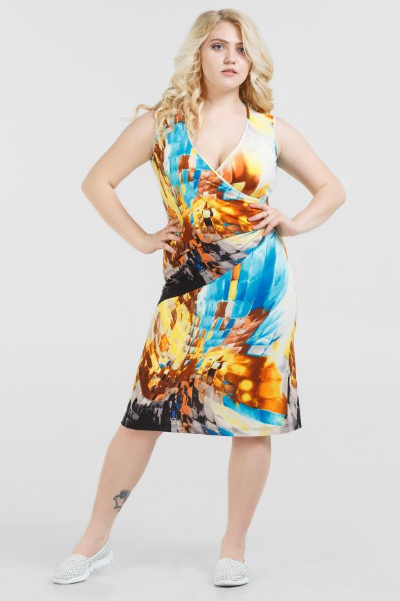 Летнее платье футляр желтого с голубым цвета 1305.33-11|интернет-магазин vvlen.com