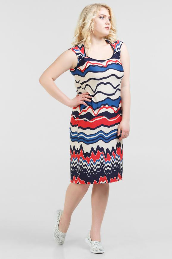 Летнее платье майка синего с красным цвета|интернет-магазин vvlen.com