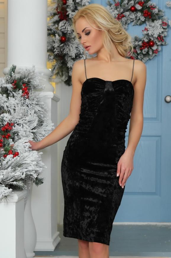 Коктейльное платье-комбинация черного цвета 996-1.22|интернет-магазин vvlen.com