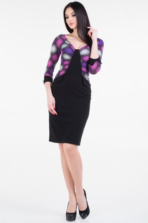Повседневное платье футляр черного с сиреневым цвета 909.1|интернет-магазин vvlen.com