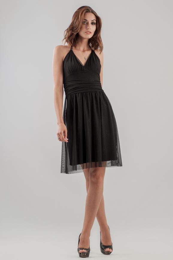 Коктейльное платье с пышной юбкой черного цвета 804.10|интернет-магазин vvlen.com
