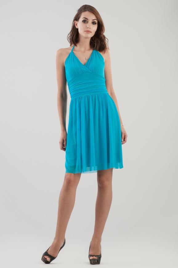 Коктейльное платье с пышной юбкой бирюзового цвета 804.10|интернет-магазин vvlen.com