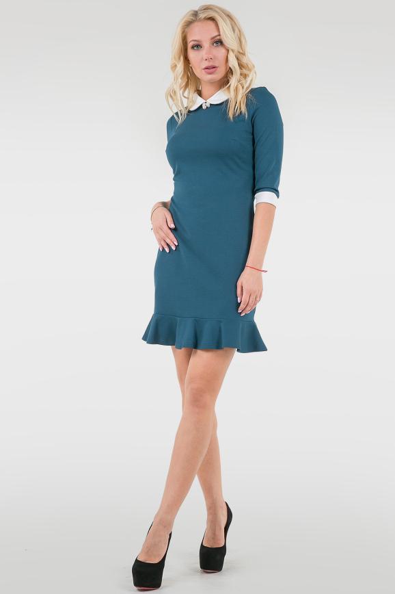 Офисное платье футляр морской волны цвета 2074.57|интернет-магазин vvlen.com