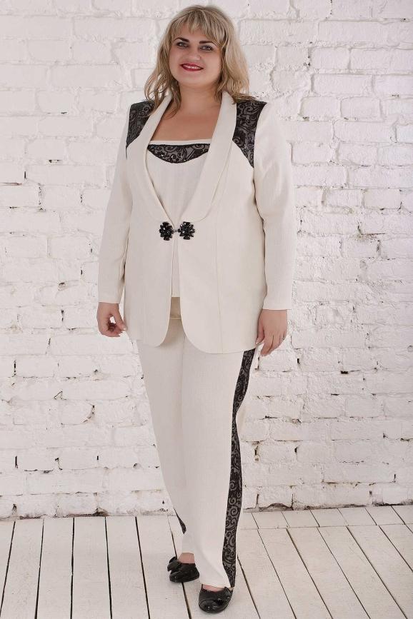 Женский костюм большего размера бежевый цвета|интернет-магазин vvlen.com