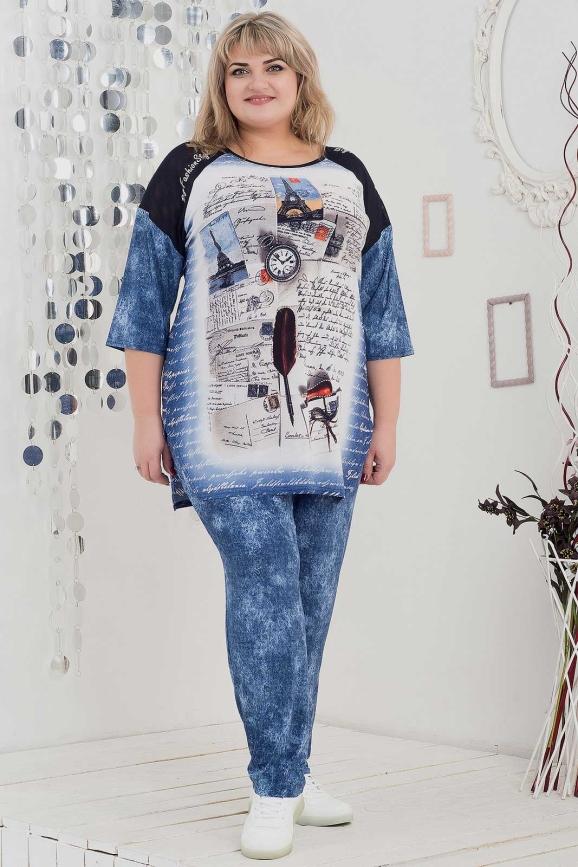 Женский костюм большего размера джинса цвета 1026п-1|интернет-магазин vvlen.com