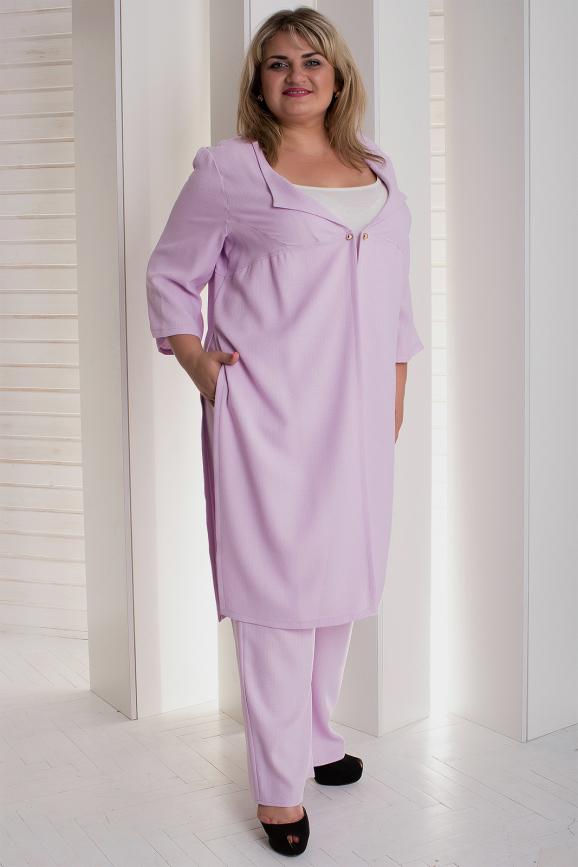 Женский костюм большего размера сиреневый цвета|интернет-магазин vvlen.com