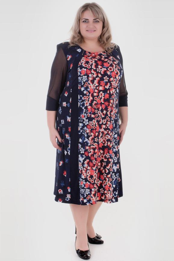 Платье большего размера красного цвета 259к-2|интернет-магазин vvlen.com