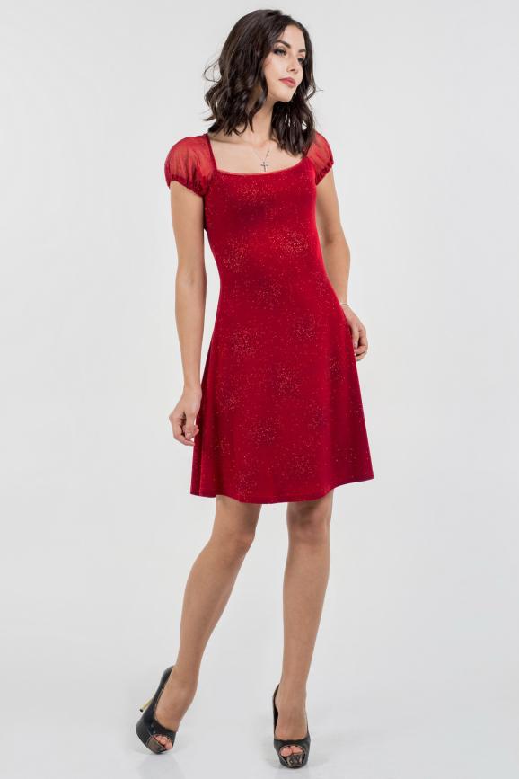 Коктейльное платье с расклешённой юбкой красного цвета 514.6|интернет-магазин vvlen.com