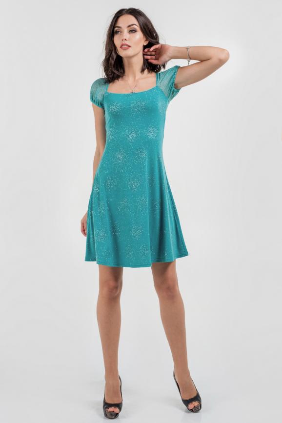 Коктейльное платье с расклешённой юбкой бирюзового цвета|интернет-магазин vvlen.com