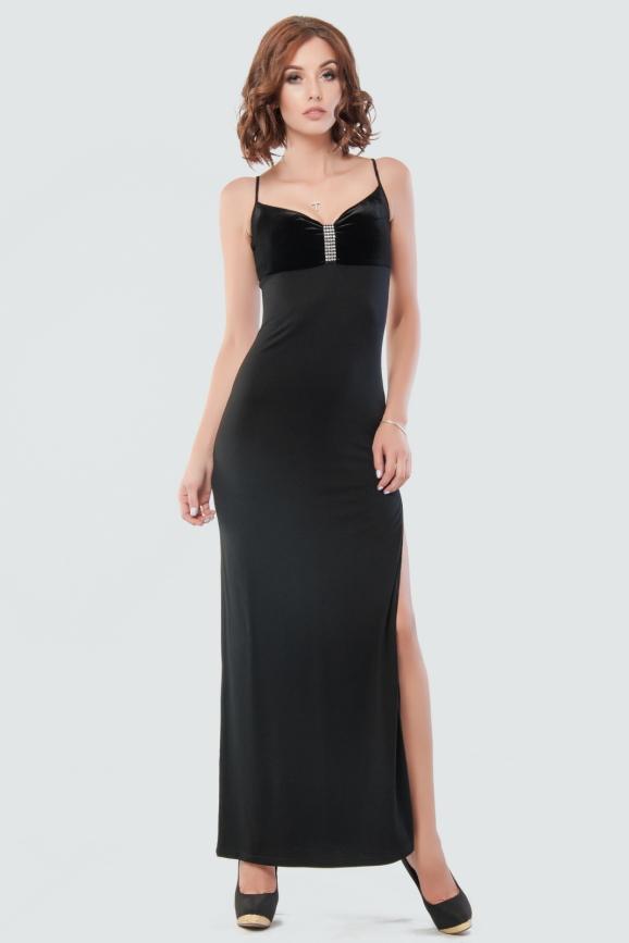 Вечернее платье-комбинация черного цвета 523.2|интернет-магазин vvlen.com