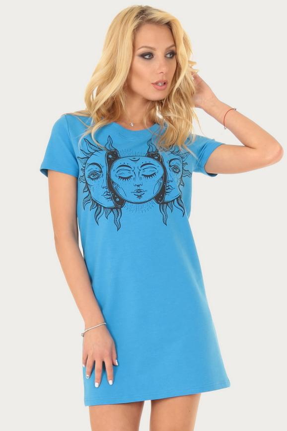 Спортивное платье  синего цвета с принтом|интернет-магазин vvlen.com