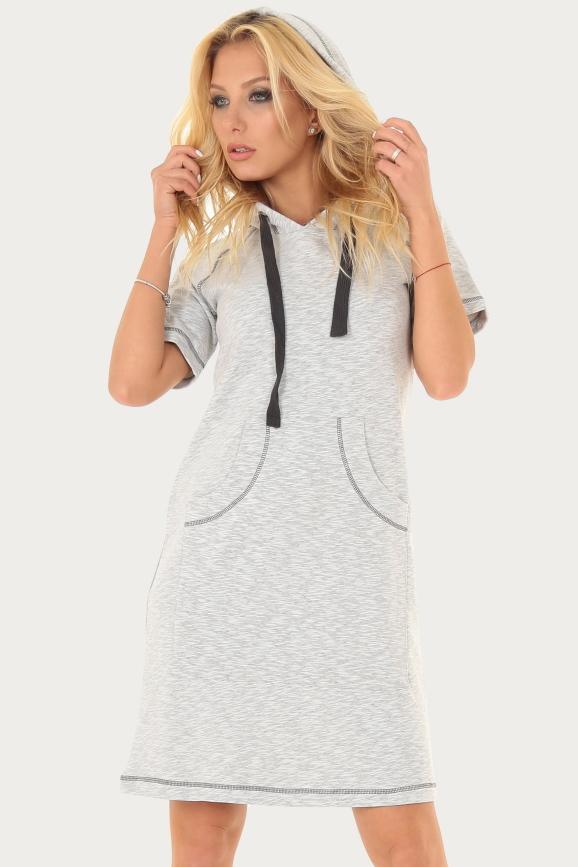 Спортивное платье  светло-серого цвета 222br|интернет-магазин vvlen.com