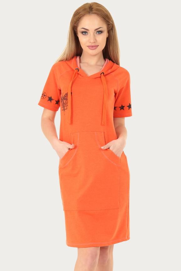 Спортивное платье  оранжевого с коричневым цвета|интернет-магазин vvlen.com