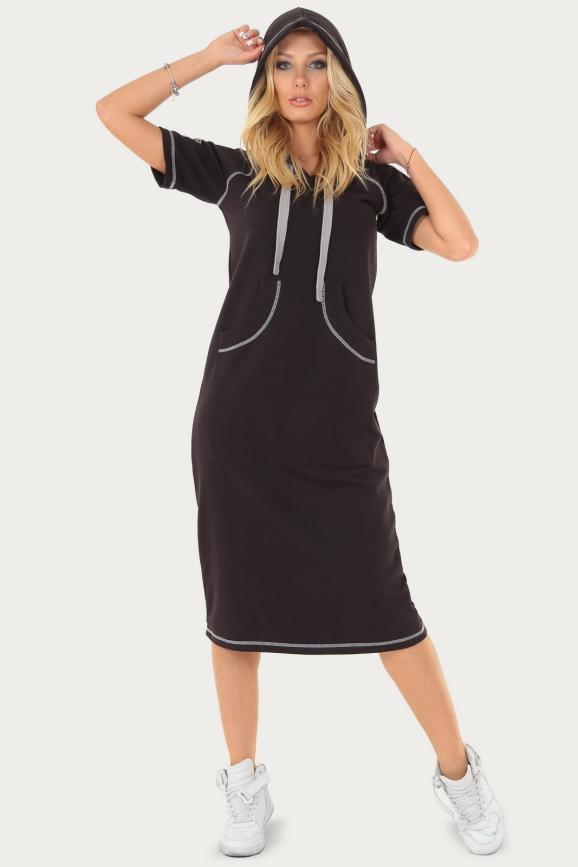 Спортивное платье  черного цвета 220|интернет-магазин vvlen.com