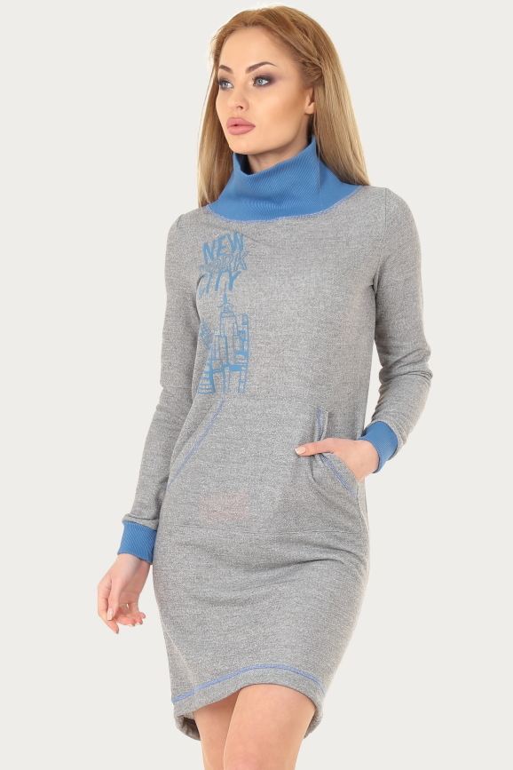 Спортивное платье  серого цвета|интернет-магазин vvlen.com