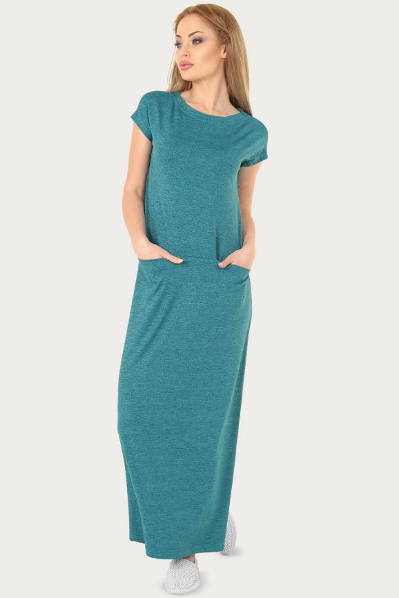 Спортивное платье  бирюзового цвета 217br|интернет-магазин vvlen.com