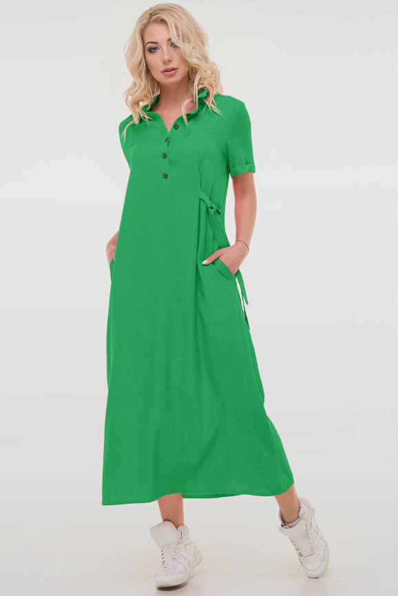 Летнее платье рубашка зеленого цвета|интернет-магазин vvlen.com