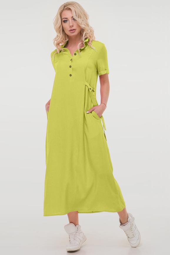 Летнее платье рубашка салатового цвета|интернет-магазин vvlen.com