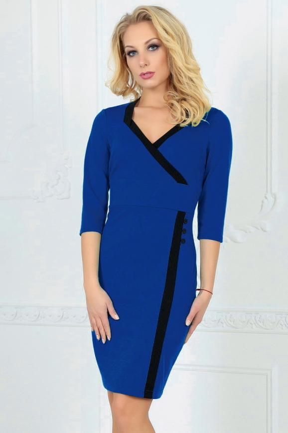 Офисное платье футляр электрика цвета 1879-1.47 интернет-магазин vvlen.com