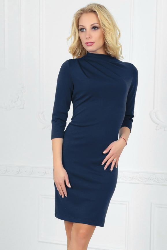 Офисное платье футляр темно-синего цвета 2505.47 интернет-магазин vvlen.com