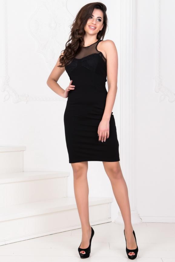 Коктейльное платье футляр черного цвета 1933.2|интернет-магазин vvlen.com