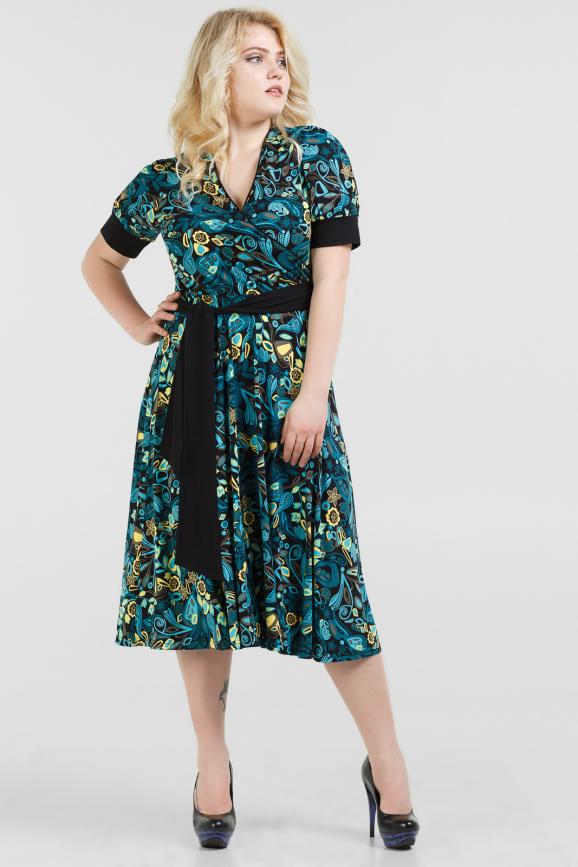 Летнее платье с расклешённой юбкой морской волны с желтым цвета|интернет-магазин vvlen.com