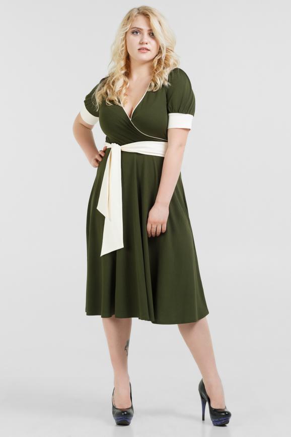 Летнее платье с расклешённой юбкой хаки цвета|интернет-магазин vvlen.com