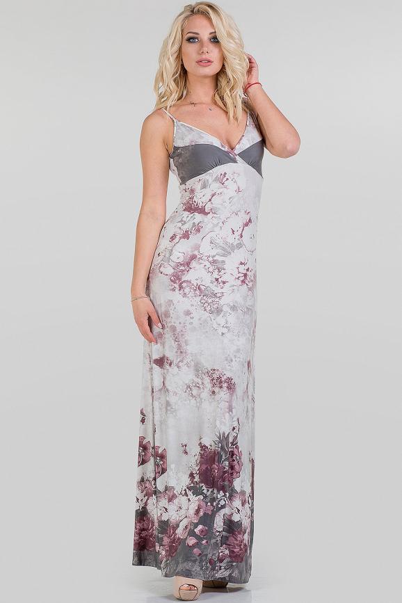 Летнее платье-комбинация серого с розовым цвета 1308.33|интернет-магазин vvlen.com