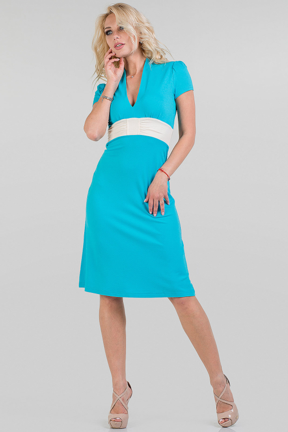 Летнее платье трапеция голубого цвета|интернет-магазин vvlen.com
