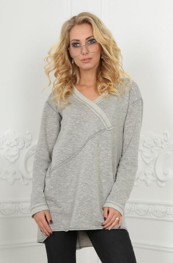 Туника асимметричная серого цвета 2600-2.91|интернет-магазин vvlen.com