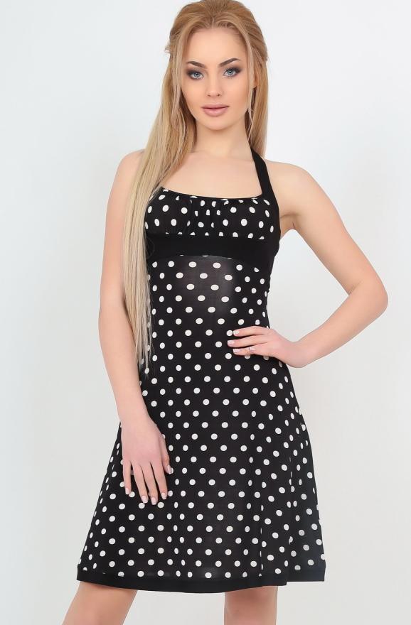 Летнее платье с расклешённой юбкой черного с белым цвета|интернет-магазин vvlen.com