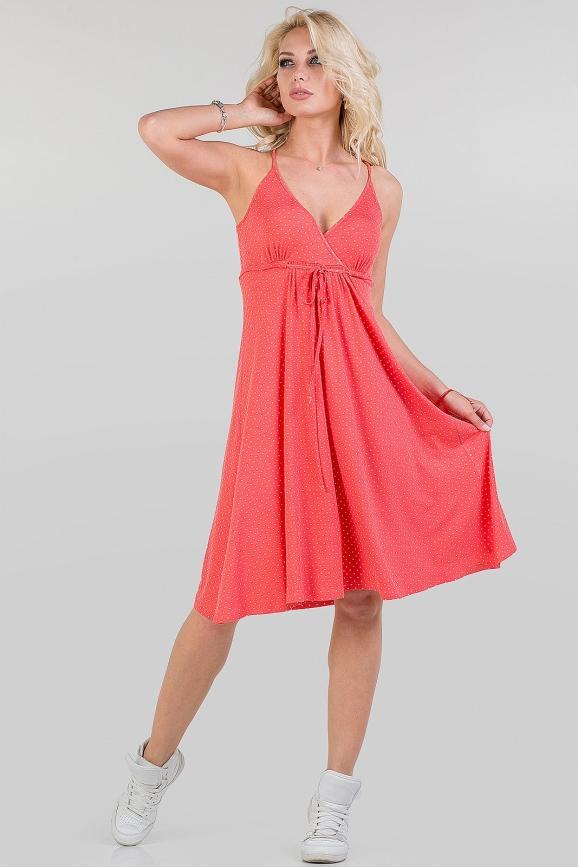 Летнее платье с расклешённой юбкой кораллового цвета 1337.17|интернет-магазин vvlen.com