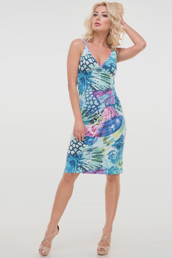 Летнее платье футляр сиреневого с голубым цвета|интернет-магазин vvlen.com