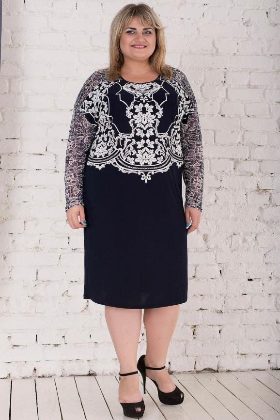 Платье синего цвета 797м-1|интернет-магазин vvlen.com