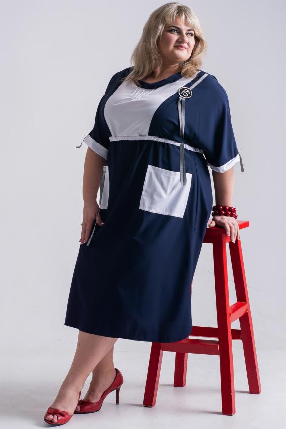 Платье синего в горох цвета 1071р-1|интернет-магазин vvlen.com
