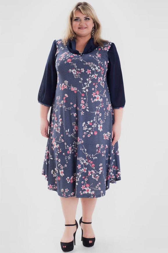Платье синего цвета 1054с-1|интернет-магазин vvlen.com