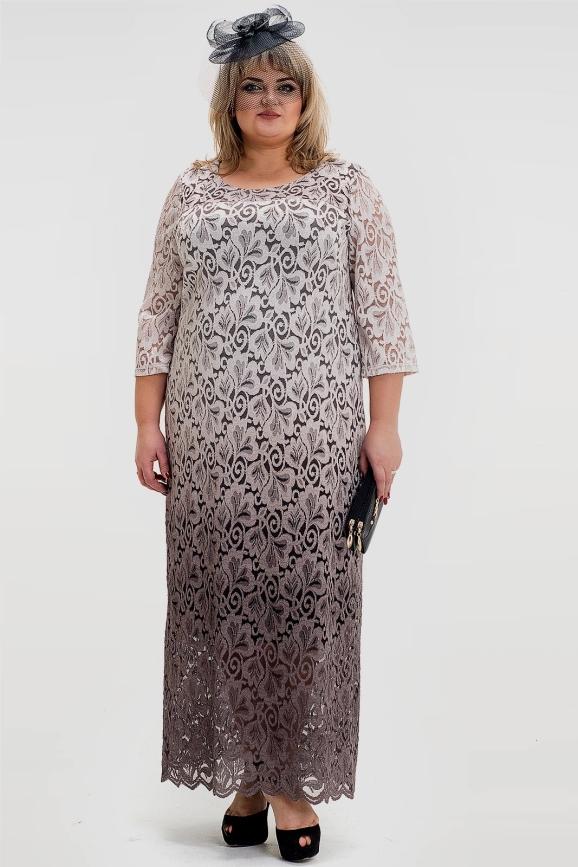 Платье бежевого цвета 1022т-1|интернет-магазин vvlen.com