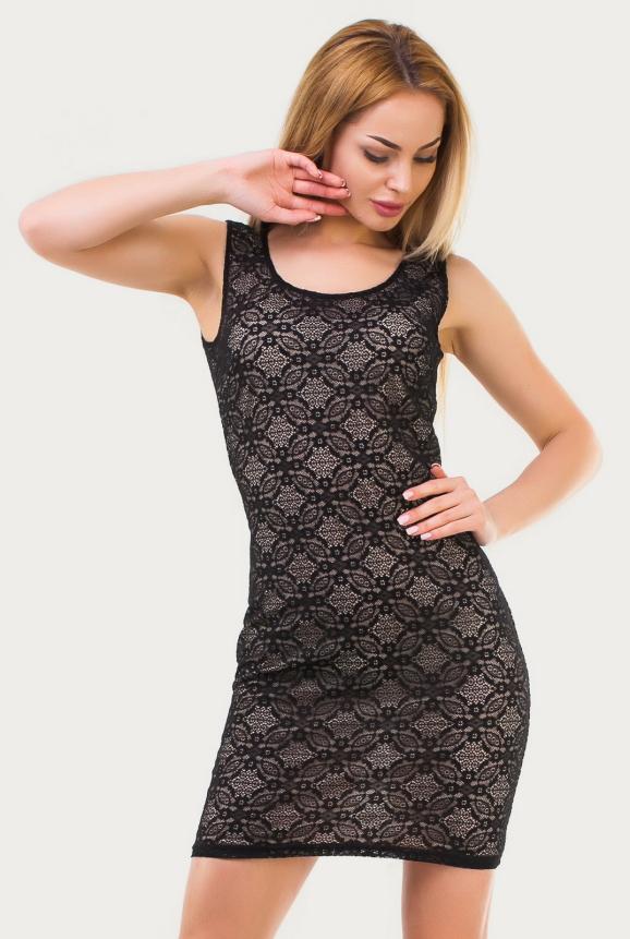 Летнее платье футляр черного цвета|интернет-магазин vvlen.com