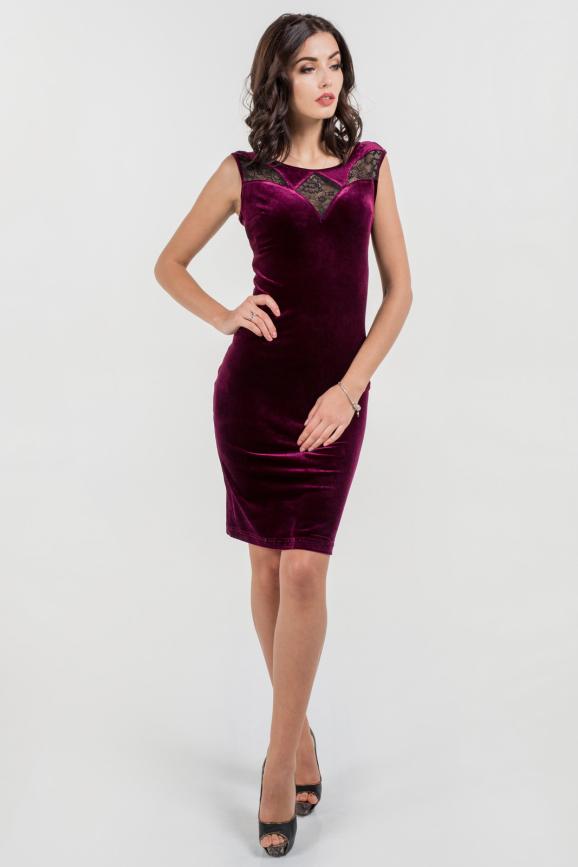 Коктейльное платье футляр лилового цвета 2643.26|интернет-магазин vvlen.com