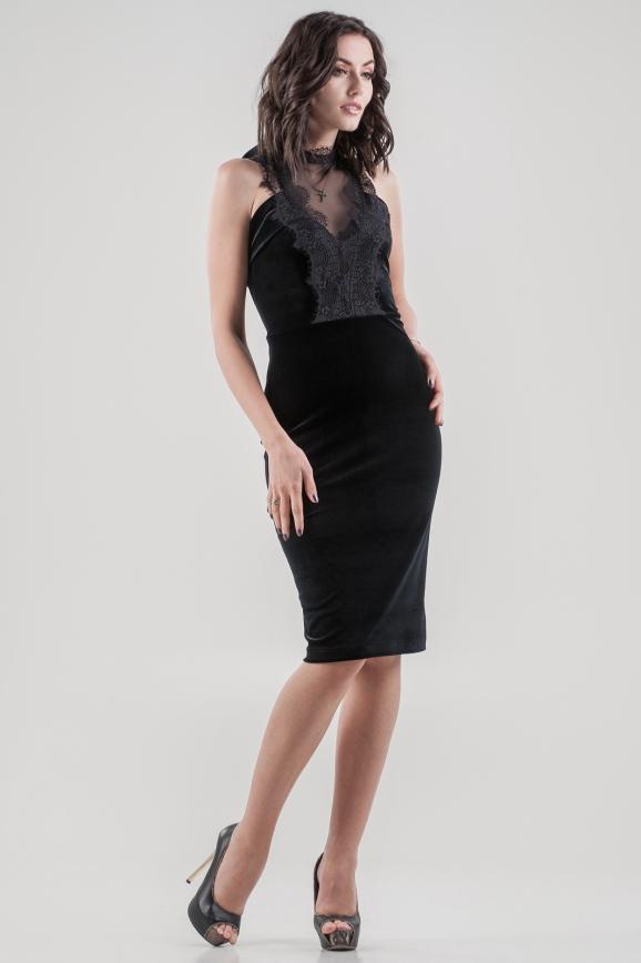 Коктейльное платье-комбинация черного цвета 2645.26|интернет-магазин vvlen.com