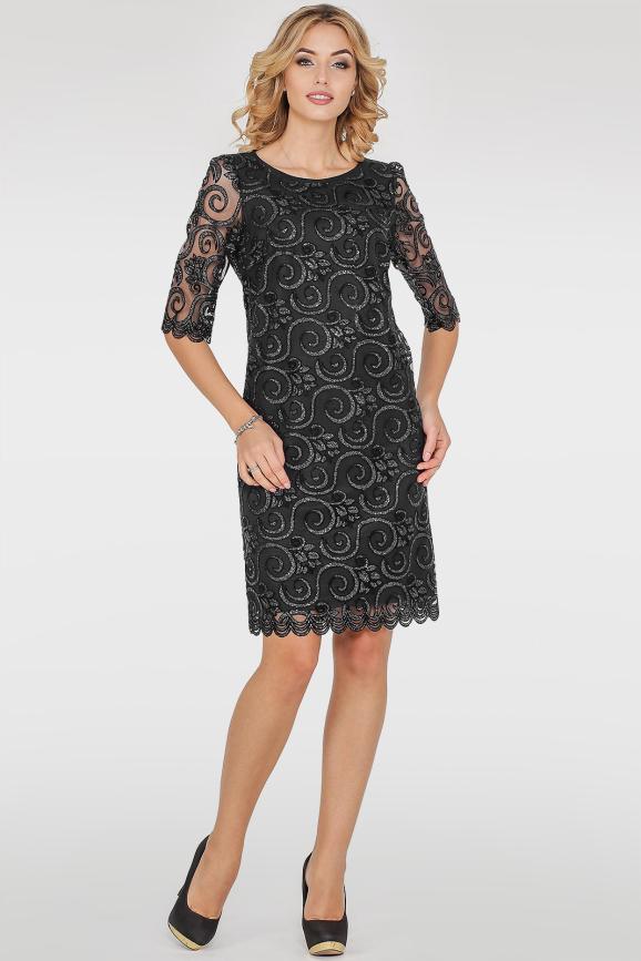 Коктейльное платье трапеция черного цвета|интернет-магазин vvlen.com